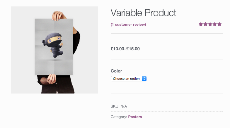 A screenshot of a WooCommerce product page showing a price range