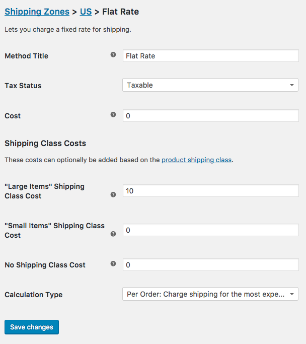 A screenshot of the flat rate settings in WooCommerce